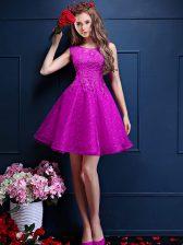Fuchsia Bateau Lace Up Beading and Lace Dama Dress for Quinceanera Sleeveless
