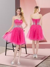 Elegant Hot Pink Prom Dress Prom and Party and Sweet 16 with Beading Sweetheart Sleeveless Lace Up