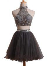 Black Sleeveless Beading Mini Length Prom Gown
