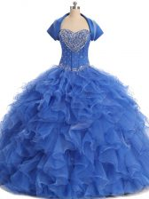 Decent Floor Length Blue Quince Ball Gowns Strapless Sleeveless Lace Up