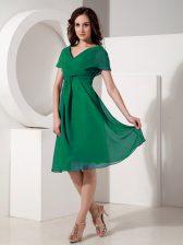 Ruching Evening Dress Dark Green Zipper Short Sleeves Knee Length