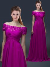 Fuchsia Off The Shoulder Lace Up Appliques Evening Dress Short Sleeves