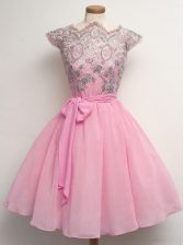 Cap Sleeves Lace and Belt Lace Up Court Dresses for Sweet 16