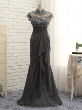 Gorgeous Cap Sleeves Floor Length Lace and Ruching Zipper Prom Gown with Black