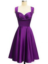 Ruching Dama Dress for Quinceanera Eggplant Purple Lace Up Sleeveless Knee Length