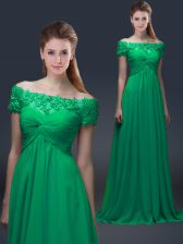 Romantic Off The Shoulder Short Sleeves Chiffon Homecoming Dress Appliques Lace Up