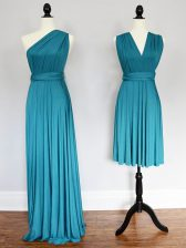 Chiffon One Shoulder Sleeveless Lace Up Ruching Dama Dress in Teal