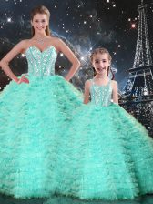 Apple Green Ball Gowns Tulle Sweetheart Sleeveless Beading and Ruffles Floor Length Lace Up 15 Quinceanera Dress