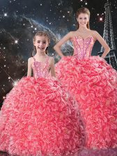 Fine Beading and Ruffles Sweet 16 Quinceanera Dress Coral Red Lace Up Sleeveless Floor Length