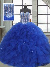 Sleeveless Lace Up Floor Length Beading and Ruffles and Sequins Ball Gown Prom Dress