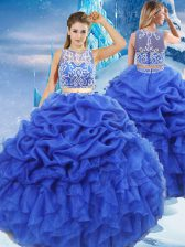 Edgy Royal Blue Two Pieces Beading and Ruffles and Pick Ups Quince Ball Gowns Zipper Organza Sleeveless Floor Length