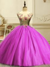 Flare Floor Length Fuchsia Quinceanera Gowns Scoop Sleeveless Lace Up
