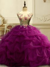 Noble Fuchsia Ball Gowns Scoop Sleeveless Organza Floor Length Lace Up Appliques and Ruffles and Sequins Quinceanera Dresses