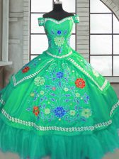 Short Sleeves Beading and Embroidery Lace Up 15th Birthday Dress