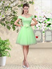 Apple Green V-neck Lace Up Lace and Belt Dama Dress Cap Sleeves