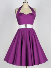 Custom Made Purple Halter Top Neckline Belt Quinceanera Court Dresses Sleeveless Lace Up