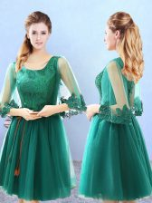 Knee Length Green Court Dresses for Sweet 16 Scoop 3 4 Length Sleeve Lace Up