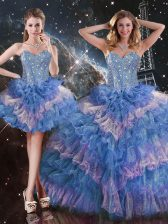 Sumptuous Sweetheart Sleeveless Lace Up Quince Ball Gowns Multi-color Organza