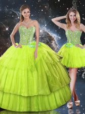 Clearance Floor Length Lace Up Quinceanera Gown Yellow Green for Military Ball and Sweet 16 and Quinceanera with Ruffled Layers