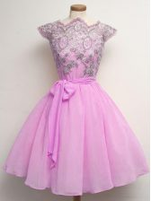 Fabulous Lilac Cap Sleeves Lace and Belt Knee Length Quinceanera Dama Dress