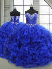 Royal Blue Ball Gowns Sweetheart Sleeveless Organza Floor Length Lace Up Beading and Ruffles Vestidos de Quinceanera