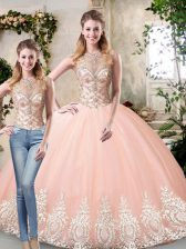 Top Selling Peach Lace Up Scoop Beading and Lace and Appliques 15 Quinceanera Dress Tulle Sleeveless