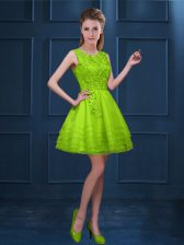 Fantastic Green Scoop Zipper Lace and Ruffled Layers Quinceanera Dama Dress Sleeveless