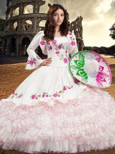 Smart White Ball Gowns Organza Square Long Sleeves Embroidery and Ruffled Layers Floor Length Lace Up Quinceanera Gown