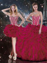 Cute Burgundy Organza Lace Up Sweet 16 Dress Sleeveless Floor Length Beading and Ruffles