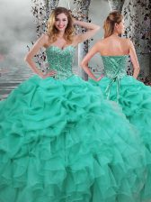 Super Floor Length Turquoise Quinceanera Gowns Sweetheart Sleeveless Lace Up