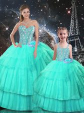 Adorable Turquoise Sweetheart Neckline Ruffled Layers Vestidos de Quinceanera Sleeveless Lace Up