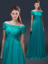 Luxurious Chiffon Off The Shoulder Short Sleeves Lace Up Appliques Dress for Prom in Teal