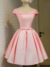 Sophisticated Baby Pink A-line Off The Shoulder 3 4 Length Sleeve Taffeta Knee Length Lace Up Belt Quinceanera Court of Honor Dress