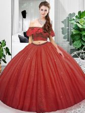 Glittering Coral Red Lace Up Quinceanera Gown Lace Sleeveless Floor Length