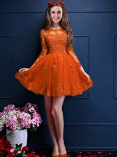 Orange Red Chiffon Lace Up Dama Dress 3 4 Length Sleeve Mini Length Beading and Lace and Appliques