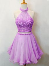 Organza Halter Top Sleeveless Lace Up Beading Court Dresses for Sweet 16 in Lilac