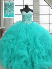 Floor Length Turquoise Quinceanera Gowns Organza Sleeveless Beading and Ruffles