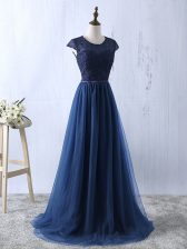Sophisticated Navy Blue Short Sleeves Tulle Zipper Prom Party Dress for Prom and Party and Military Ball