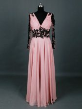 Customized Pink Chiffon Zipper V-neck Long Sleeves Floor Length Dress for Prom Lace and Appliques