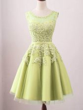 Glittering Scoop Sleeveless Quinceanera Dama Dress Knee Length Lace Yellow Tulle