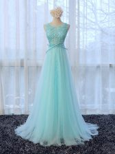 Excellent Scoop Sleeveless Damas Dress Brush Train Lace and Bowknot Apple Green Tulle