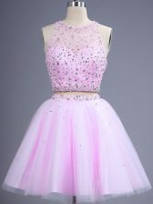 Scoop Sleeveless Lace Up Dama Dress for Quinceanera Lilac Tulle