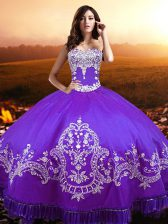 Fantastic Sleeveless Taffeta Floor Length Lace Up Vestidos de Quinceanera in Purple with Beading and Appliques