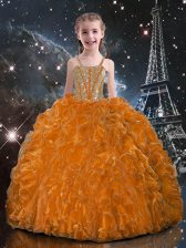 Dazzling Sleeveless Organza Floor Length Lace Up Little Girls Pageant Gowns in Orange Red with Beading and Ruffles