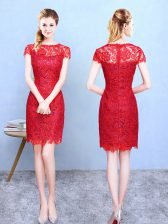 Short Sleeves Knee Length Lace Zipper Court Dresses for Sweet 16 with Red