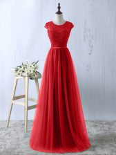 Flare Red A-line Scoop Short Sleeves Tulle Floor Length Zipper Lace Dress for Prom