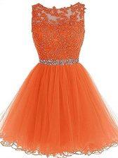 Stunning Beading and Ruffles Evening Dress Orange Zipper Sleeveless Mini Length