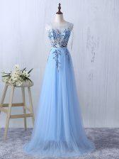 Ideal Light Blue Empire Tulle Scoop Sleeveless Appliques Floor Length Side Zipper Quinceanera Dama Dress