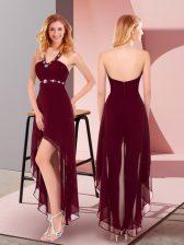 Burgundy Halter Top Zipper Beading Prom Gown Sleeveless