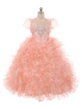 Dramatic Peach Sleeveless Organza Lace Up Girls Pageant Dresses for Wedding Party